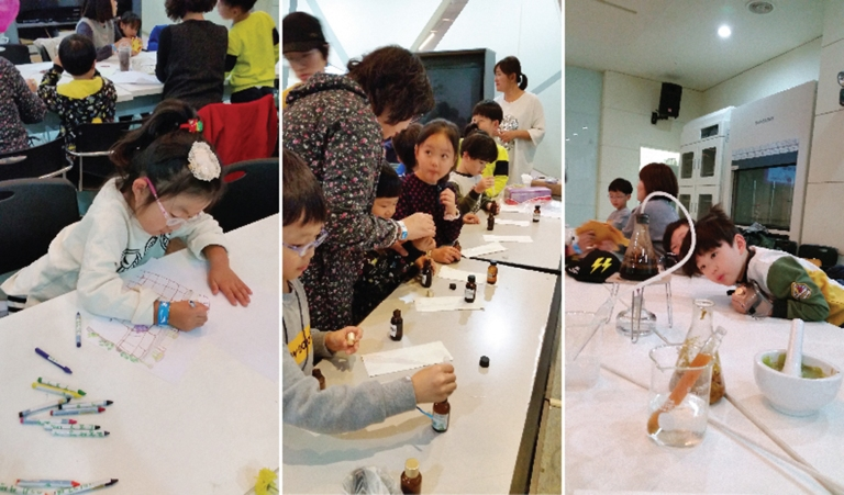 Children make perfumes through chemical distillation and mixing of essential oils